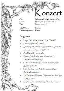 Klassisches Konzert, Sept. 2015, Küssnacht a.R